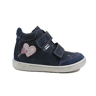 Ricosta Lara 2624100-170 Navy Nubuck Leather Girls Rip Tape Water Resistant Ankle Boots