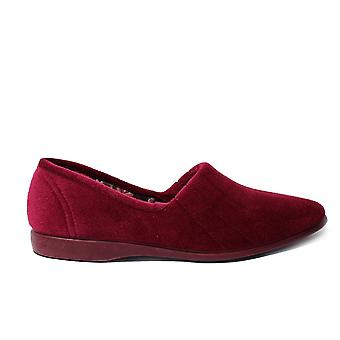 GBS Audrey Red Velour Womens Slip On Full Shoe Slippers