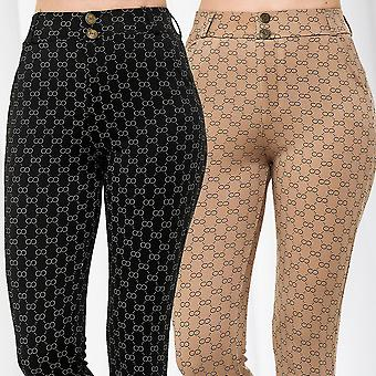Womens Fabric Pants Infinity All over Print High Waist Trousers Stretch Slim Fit