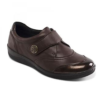 Padders Gaby Ladies Leather Wide (e Fit) Shoes Brown