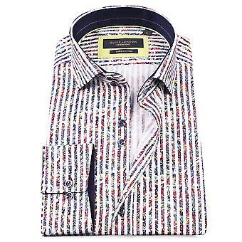 Guia Londres listra negrito Sateen Paisley Mens a camisa de algodão