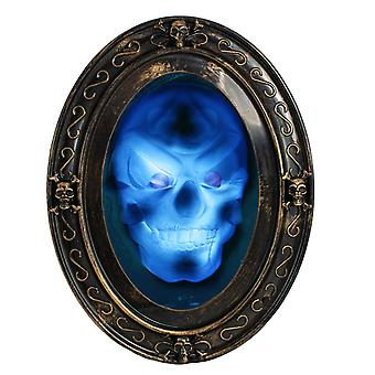 Black and Gold Oval Haunted Speaking Halloween Mirror with Spooky Picture TRIXES