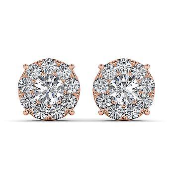 Igi certifierad fast 10k steg guld 1,25 ct diamant örhängen stud