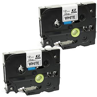 Prestige kaseta™ kompatybilny tzer231 czarny na białej taśmie etykietowej (12mm x 4m) do maszyn do drukowania etykiet seryjnych brother p-touch