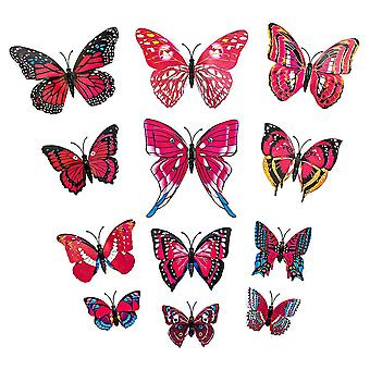 12pcs Pink Decorative 3D butterflies in paper for walls