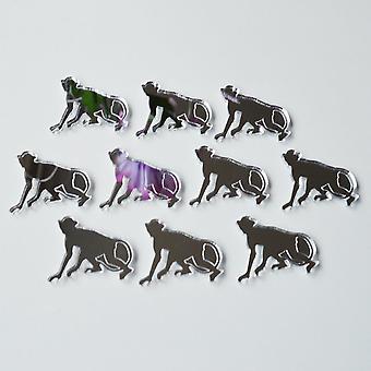 Monkey Walking Mini Craft Sized Acrylic Mirrors (10Pk)