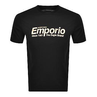 Emporio Armani Cotton Okrągła szyja Haftowane Logo Czarny T-shirt
