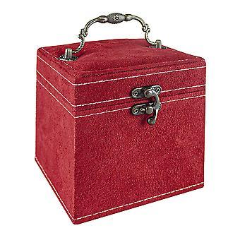 Pudełko na biżuterię, Zamsz - Czerwony