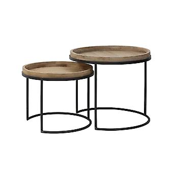 Light & Living Side Table Set Of 2 50x44 And 60x54cm Copan Metal Black And Wood