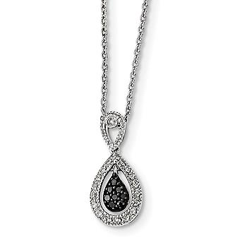 925 Sterling Silver Prong set Spring Ring Rhodium Plated Black White Diamond Teardrop Pendant Necklace Jewelry Gifts for