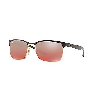 Ray-Ban RB8319CH 9076/K9 guld top på mat sort/polariseret lys rød spejl røde gradient solbriller