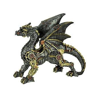 Metallic Silver and Gold Gothic Steampunk Dragon Statue