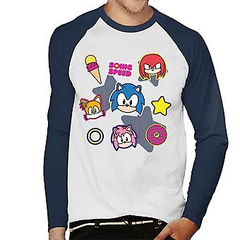Sonic The Hedgehog Speed Cute Patches Men's Baseball Long Sleeved T-Shirt