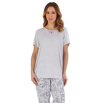 Slenderella PJ55124 Dames's Grey Floral Cotton Pyjama Set