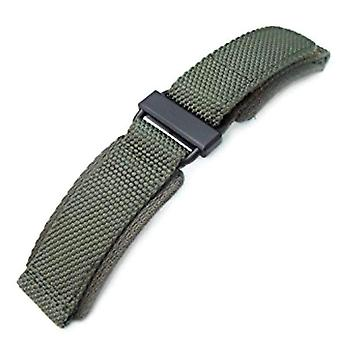 Strapcode hook and loop  watch strap 22mm miltat honeycomb military green nylon  fastener watch strap, pvd black stainless buckle, xl