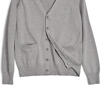 Long Sleeve deep V-Neck Knitted Button up Cardigan, Light Grey, Size Asia XS