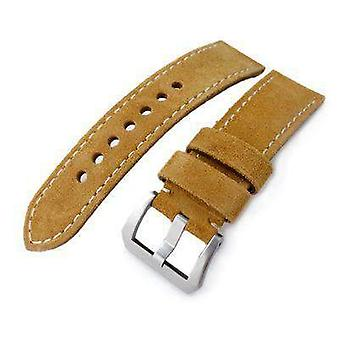 Strapcode leather watch strap 24mm miltat camel brown nubuck leather watch band, beige stitching