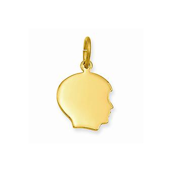 14k Gold Plated Solid Polished Small Engravable Boys Head Charm Pendant Necklace Jewelry Gifts for Women