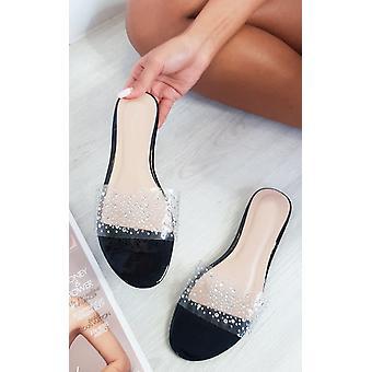 IKRUSH Womens Hope Embellished Perspex Slip On Sandals
