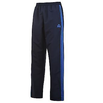 Lonsdale Mens 2 Stripe Open Hem Woven Pants Tracksuit Bottoms Lightweight Zip