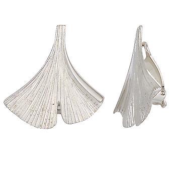 Ear clips Ginko Ginkgo 925 sterling silver matted handmade earrings clips