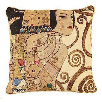 Klimt tree of life lady cushion cover | art cushions 18x18 | ccov-art-klimt-1