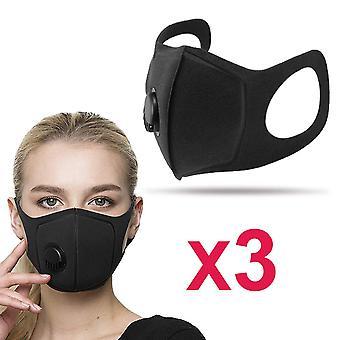 3-pakning profesjonell vaskbar munnbeskyttelse med 14:5 pm filter