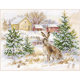 Kit Alisa Cross Stitch - Lebre Marrom do Dia de Inverno