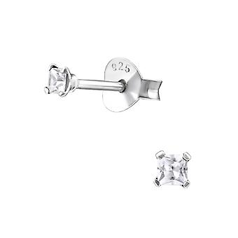 Square - 925 Sterling Silver Classic Ear Studs - W13345x