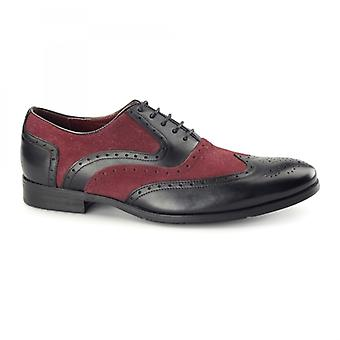 Azor Miller Mens Pelle Oxford Brogues Nero/Bordeaux