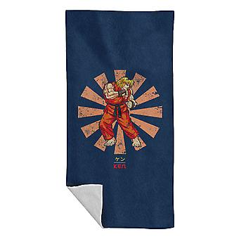Ken Street Fighter Retro Japanese Beach Towel
