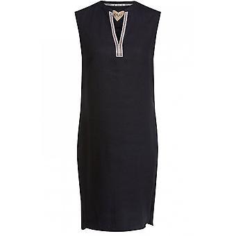 Oui Black Linen Jewelled Detailed Dress