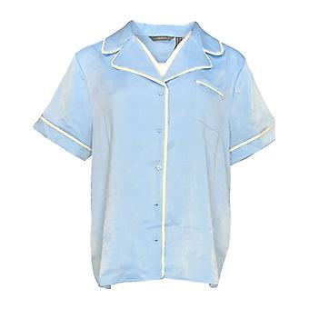 Anybody Women's Pajama Top Piped Satin Blue A353764