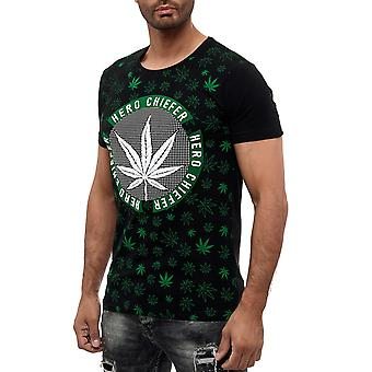 Menn rund hals t-skjorte weed design cannabis hamp print GANJA gress