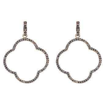 Large Open Clover Drop Earrings CZ Brown Pink Rose Gold Statement Big Party 925