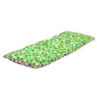 Klar Steady Bed Children's Pixels Grøn / Brun Print Foldning Pillow Sleepover Nap Mat