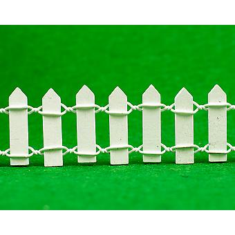 Miniature Fairy Garden 3cm Tall White Wood Picket Fence for Crafts - 90cm Long