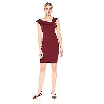 Merk - Lark & Ro Women's Asymmetrical Flounce Neckline Sheath Dress, Deep Wine, 14