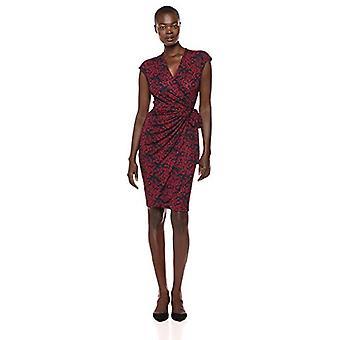 Brand - Lark & Ro Women's Classic Cap Sleeve Wrap Dress, Navy/Burgundy...