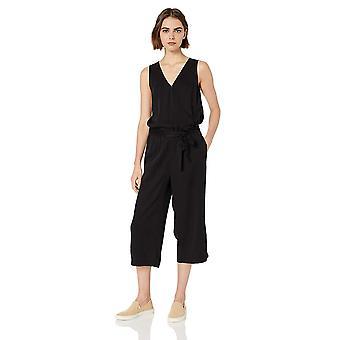 Brand - Daily Ritual Women's Tencel Sleeveless Wrap Jumpsuit, Black, 2