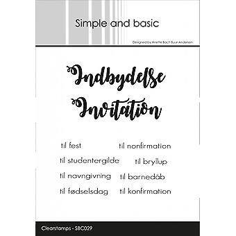 Enkel och grundläggande dansk text 5 Clear Frimärken