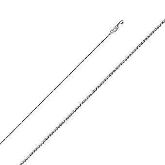 14k Wit goud 0.8mm Square Sparkle Cut Wheat Chain Ketting Sieraden Geschenken voor vrouwen - Lengte: 16 tot 24