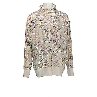 Cuddl Duds Women's Sweater Floral Printed Cardigan White