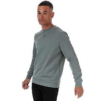 Men's Lyle And Scott Fabric Mix Crew Neck Sweatshirt in Grey