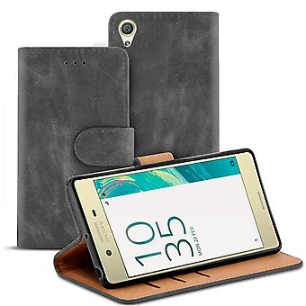 Vintage Book Case with Card Tray for Sony Xperia X Performance Stylish Leatherette Grey