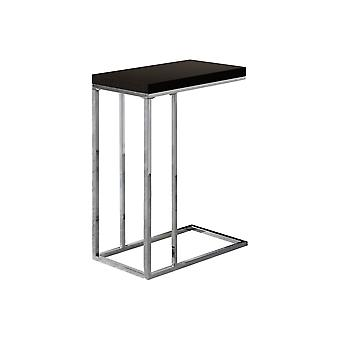 CAPPUCCINO HOLLOW-CORE / CHROME METAL ACCENT TABLE