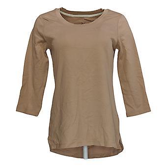 Isaac Mizrahi Live! Women's Top Pima Cotton 3/4 Manica Beige A300290