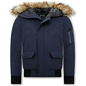 Short Winter Coat - With Faux Fur Collar - Blue