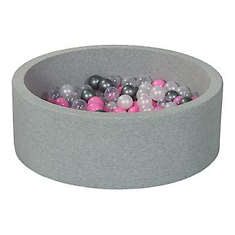 Ball pit 90 cm with 200 balls mother of pearl, transparent, light purple & silver