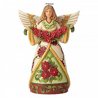 "Jim Shore Heartwood Creek Angel Met Poinsettia - ""winter Beauty In Bloom"""